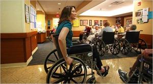 Medical student Kristen Murphy living in a nursing home.