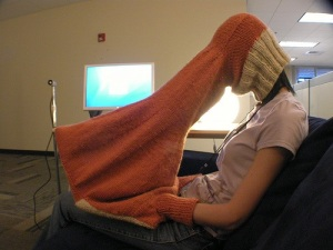 Becky Stern's laptop sweater for privacy, warmth, and concentration in public spaces.